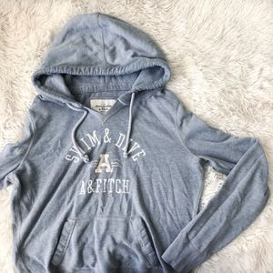 ABERCROMBIE light grey graphic long sleeve hoodie
